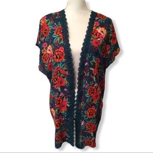 Xhilaration Cardigan Floral Print Green Size S New